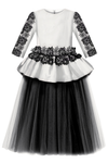 Giselle Maxi Gown Tutu Dress in White & Black - LAZY FRANCIS - Shop in store at 406 Kings Road, Chelsea, London or shop online at www.lazyfrancis.com