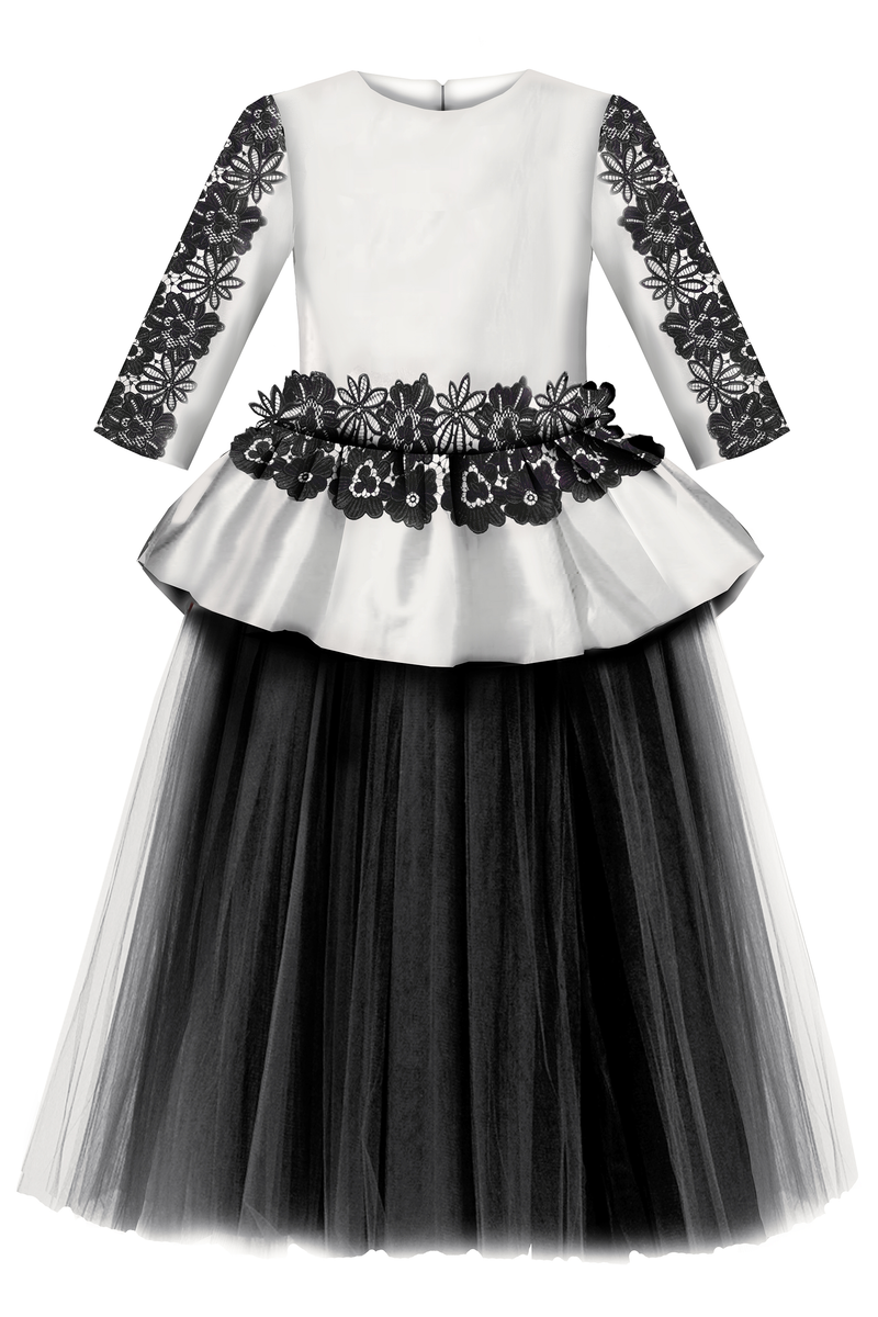 White & Black Giselle Maxi Gown Tutu Dress With Black Lace