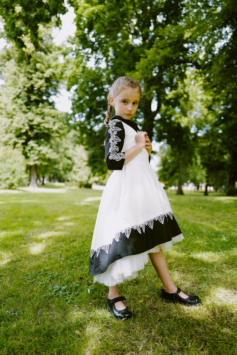 ⋆One Exclusive Dress Only⋆ Stunning Flower Leaf Ivory & Black Taffeta Girls High-Low Dress with French Lace Details