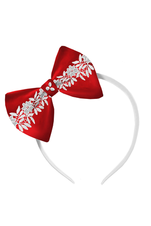 Red Bow Headband with White French Lace - LAZY FRANCIS - Shop in store at 406 Kings Road, Chelsea, London or shop online at www.lazyfrancis.com