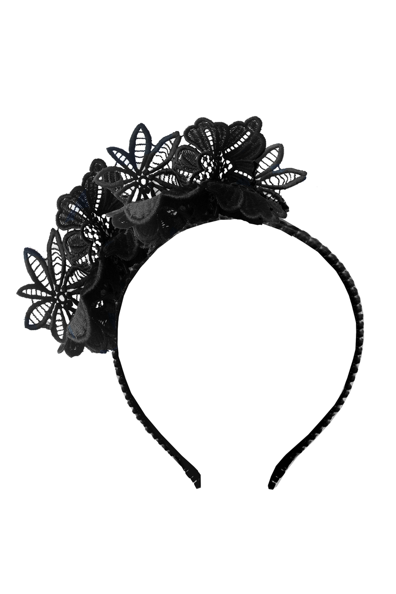 Black Flower Lace Headband