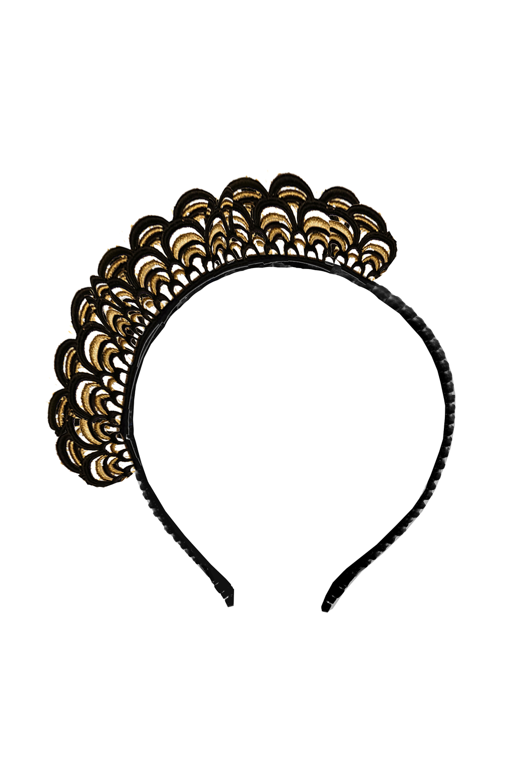 Black Golden Lace Headband - LAZY FRANCIS - Shop in store at 406 Kings Road, Chelsea, London or shop online at www.lazyfrancis.com