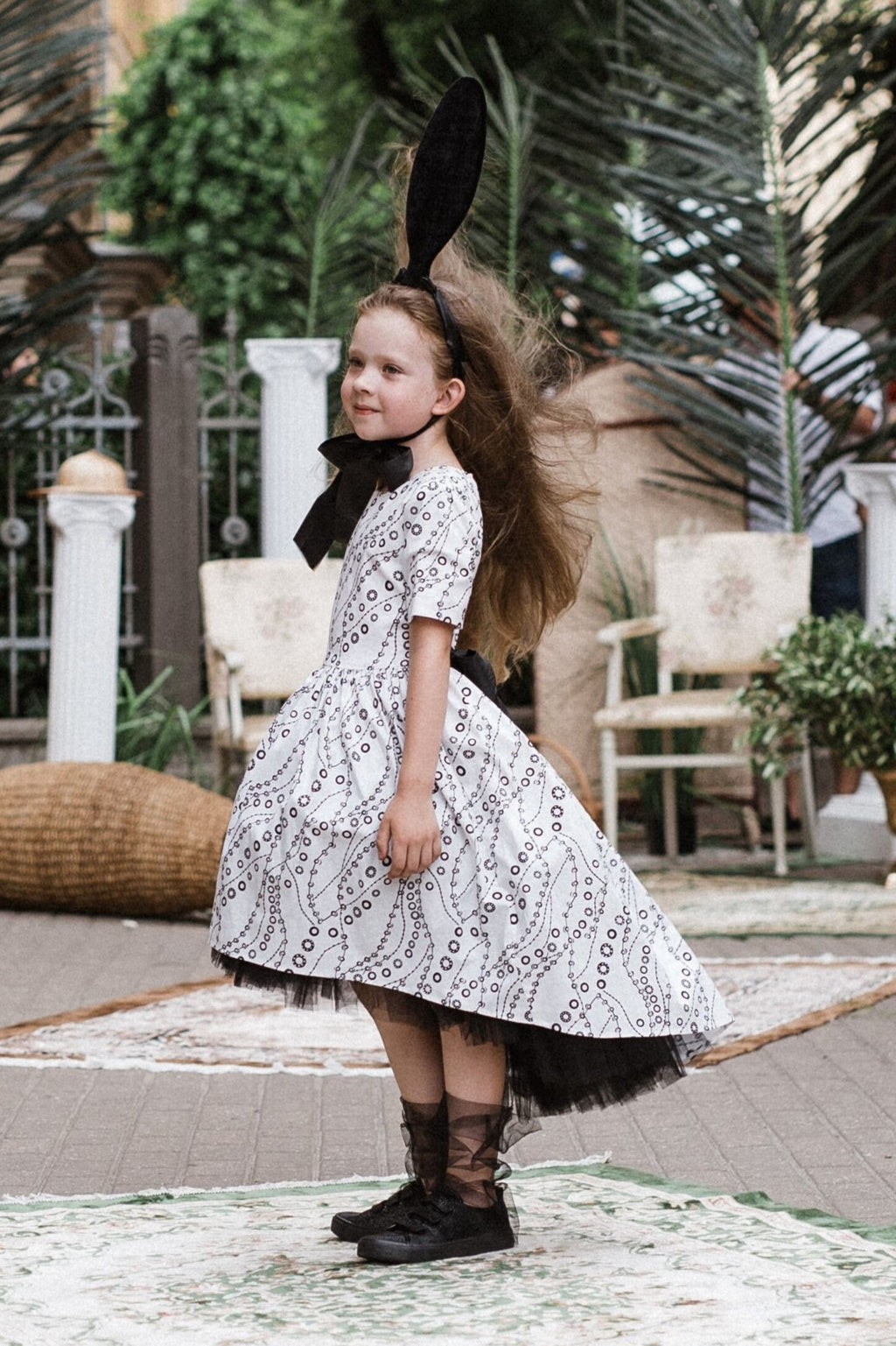Paris Light Viscose High-Low Girls Dress With Black Tulle Petticoat