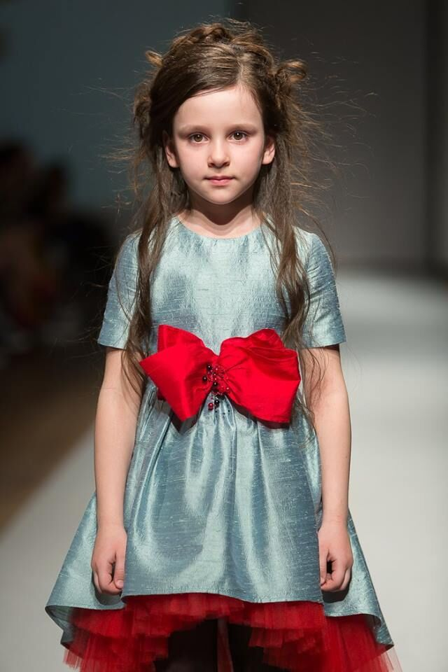 Aquamarine Raw Silk High-Low Dress with Lush Red Bow - LAZY FRANCIS - Shop in store at 406 Kings Road, Chelsea, London or shop online at www.lazyfrancis.com