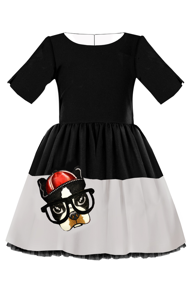 Black & Grey Full Girls Dress with Dog Appliqué - LAZY FRANCIS - Shop in store at 406 Kings Road, Chelsea, London or shop online at www.lazyfrancis.com