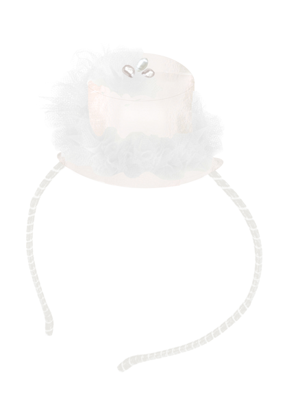 White Hat Headband with Pearls - LAZY FRANCIS - Shop in store at 406 Kings Road, Chelsea, London or shop online at www.lazyfrancis.com