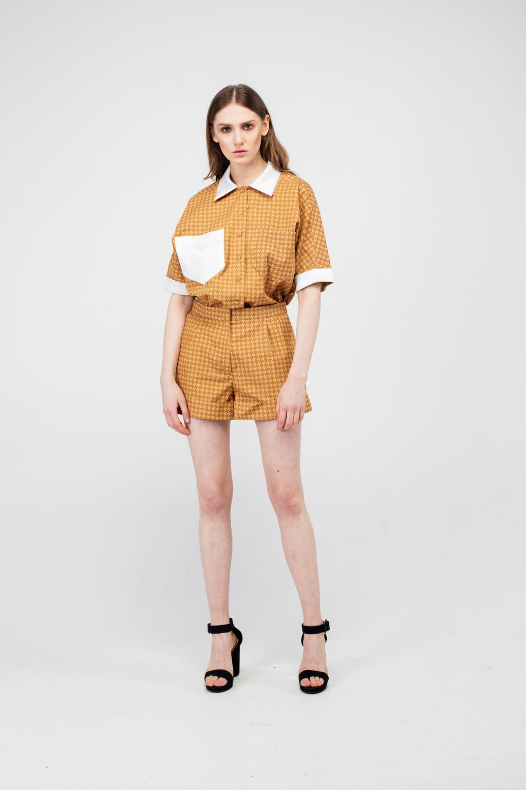 Stylish Goldenrod Girls Suit with White Details - LAZY FRANCIS - Shop in store at 406 Kings Road, Chelsea, London or shop online at www.lazyfrancis.com