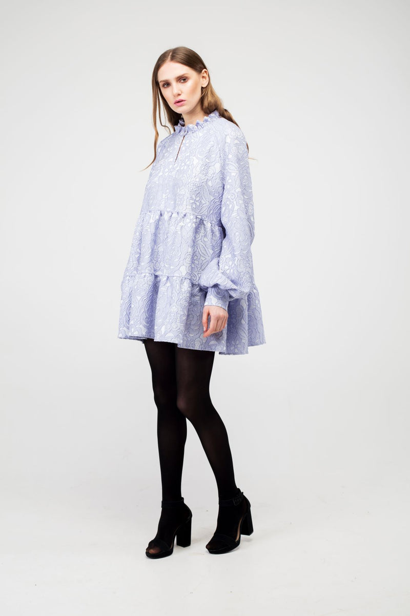 Lavender Blue Flower Jacquard Mini Dress - LAZY FRANCIS - Shop in store at 406 Kings Road, Chelsea, London or shop online at www.lazyfrancis.com