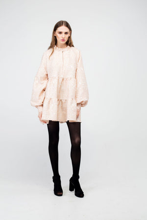Peach Puff Flower Jacquard Mini Dress - LAZY FRANCIS - Shop in store at 406 Kings Road, Chelsea, London or shop online at www.lazyfrancis.com