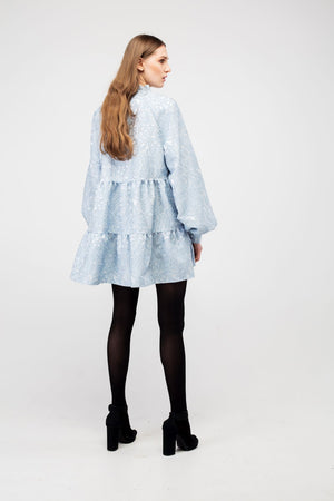 Sky Blue Flower Jacquard Mini Dress - LAZY FRANCIS - Shop in store at 406 Kings Road, Chelsea, London or shop online at www.lazyfrancis.com