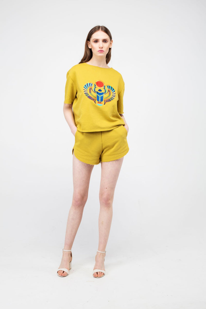 Embroidered Winged Beetle Girls Set in Wattle color - LAZY FRANCIS - Shop in store at 406 Kings Road, Chelsea, London or shop online at www.lazyfrancis.com