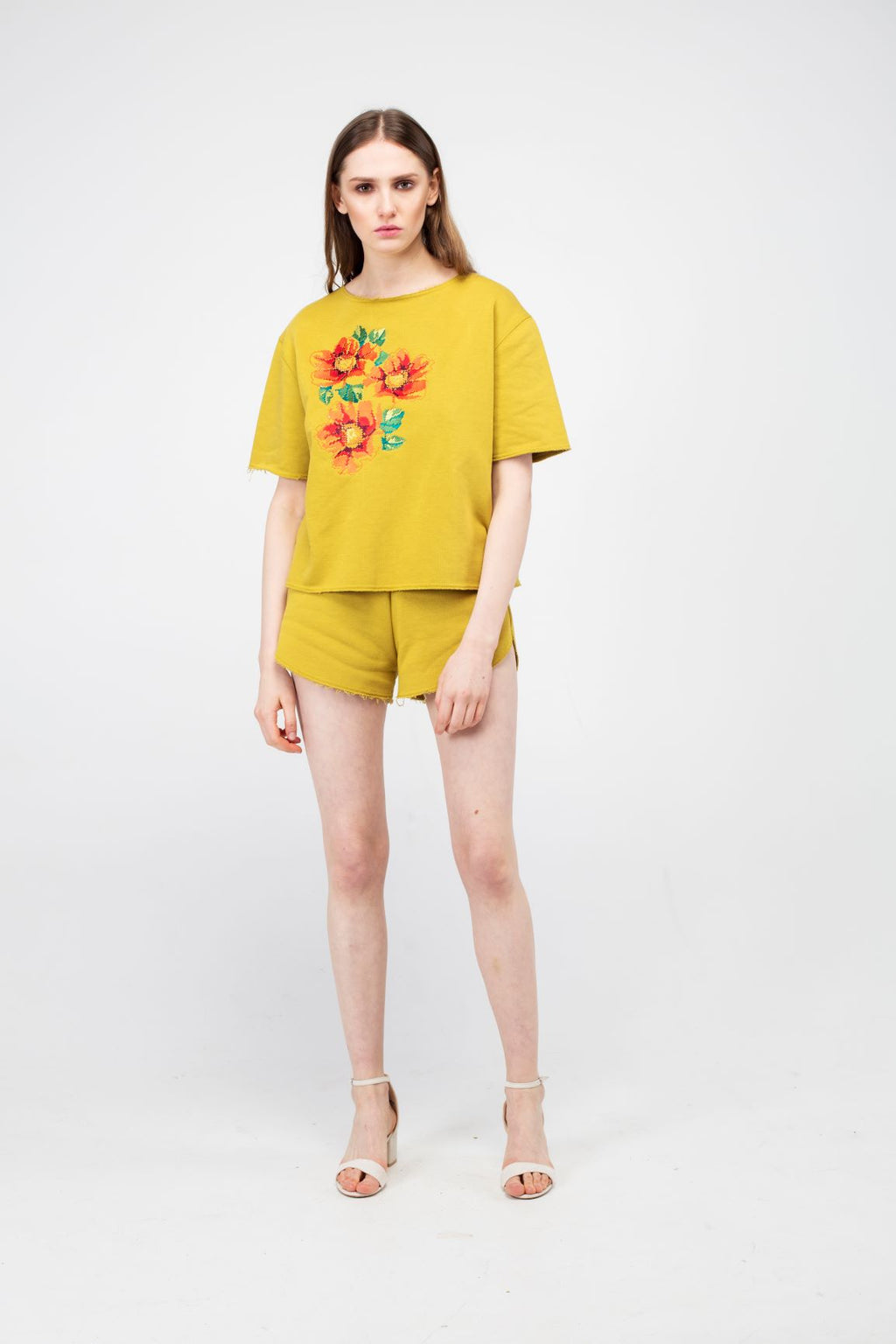 Embroidered Poppy Flower Girls Set in Wattle color - LAZY FRANCIS - Shop in store at 406 Kings Road, Chelsea, London or shop online at www.lazyfrancis.com
