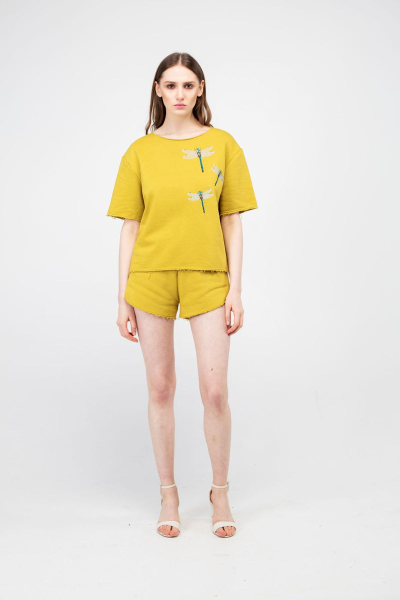 Embroidered Dragonfly Girls Set in Wattle color - LAZY FRANCIS - Shop in store at 406 Kings Road, Chelsea, London or shop online at www.lazyfrancis.com