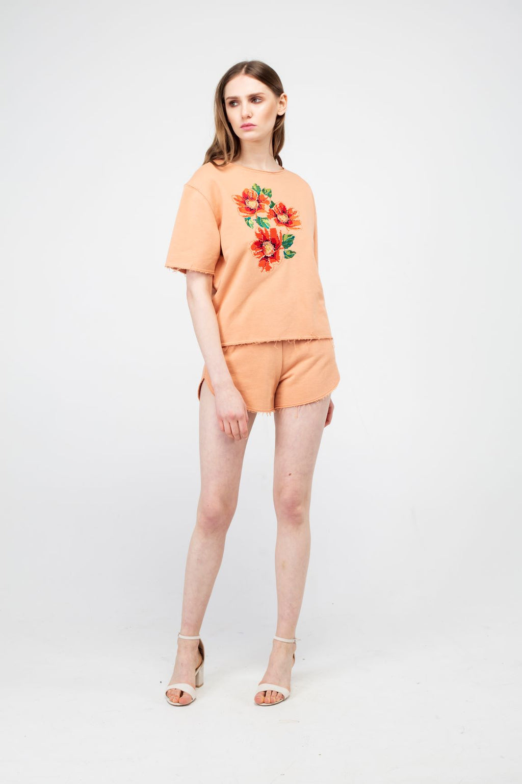 Peach Puff Poppy Flower Girls Set - LAZY FRANCIS - Shop in store at 406 Kings Road, Chelsea, London or shop online at www.lazyfrancis.com