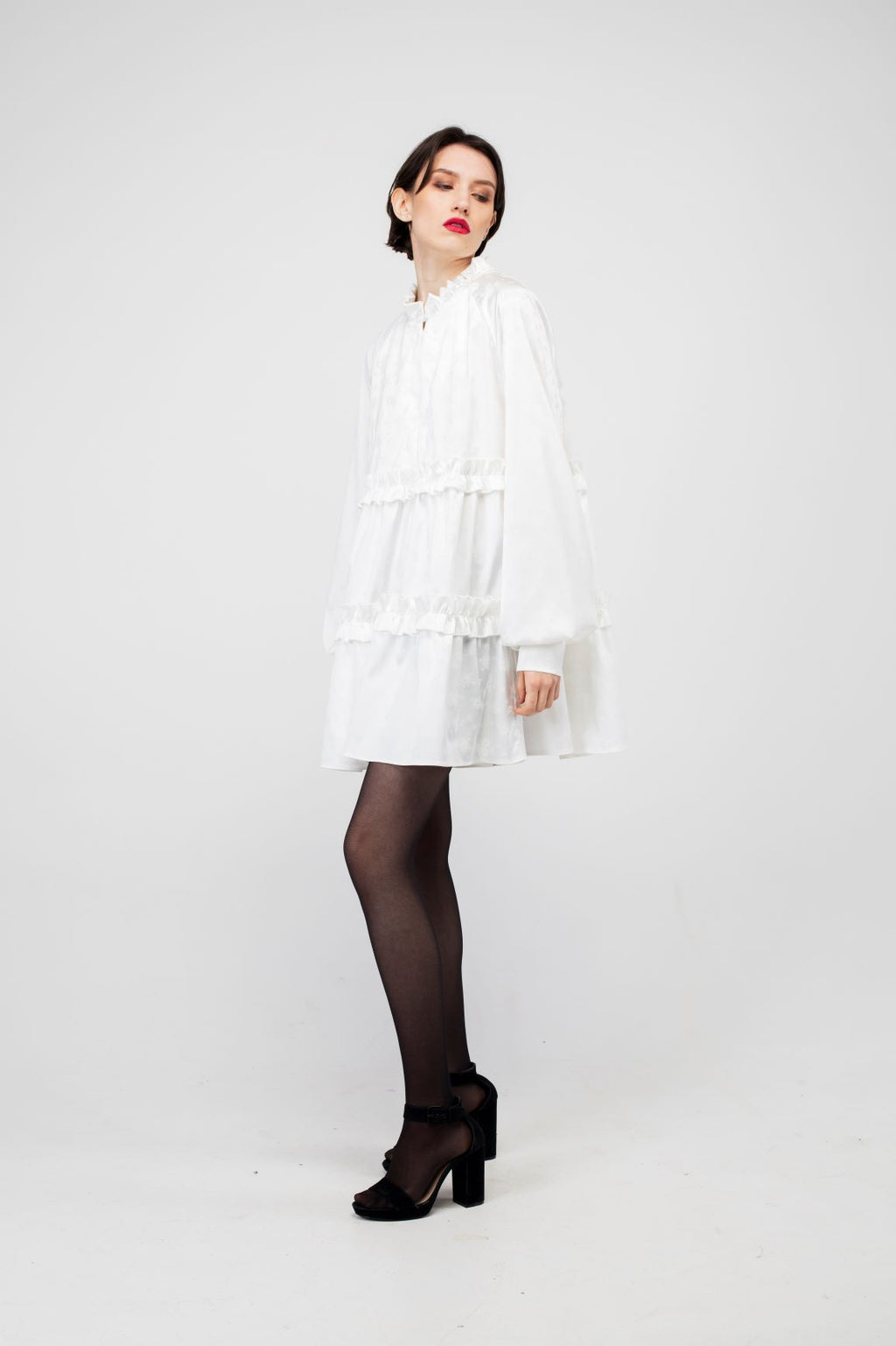 Ivory Rose Mini Silk Dress - LAZY FRANCIS - Shop in store at 406 Kings Road, Chelsea, London or shop online at www.lazyfrancis.com