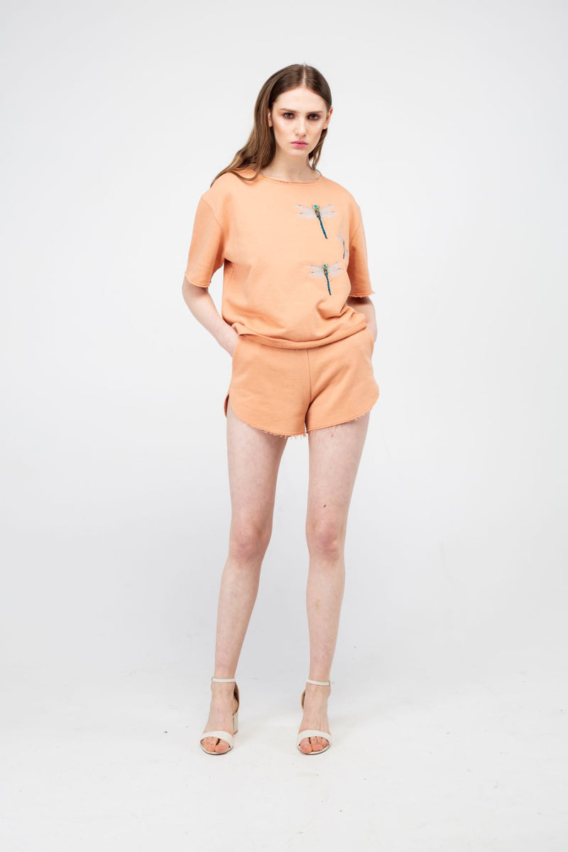 Peach Puff Embroidered Dragonfly Girls Set - LAZY FRANCIS - Shop in store at 406 Kings Road, Chelsea, London or shop online at www.lazyfrancis.com