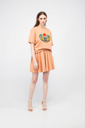Peach Puff Embroidered Winged Beetle Girls Set - LAZY FRANCIS - Shop in store at 406 Kings Road, Chelsea, London or shop online at www.lazyfrancis.com