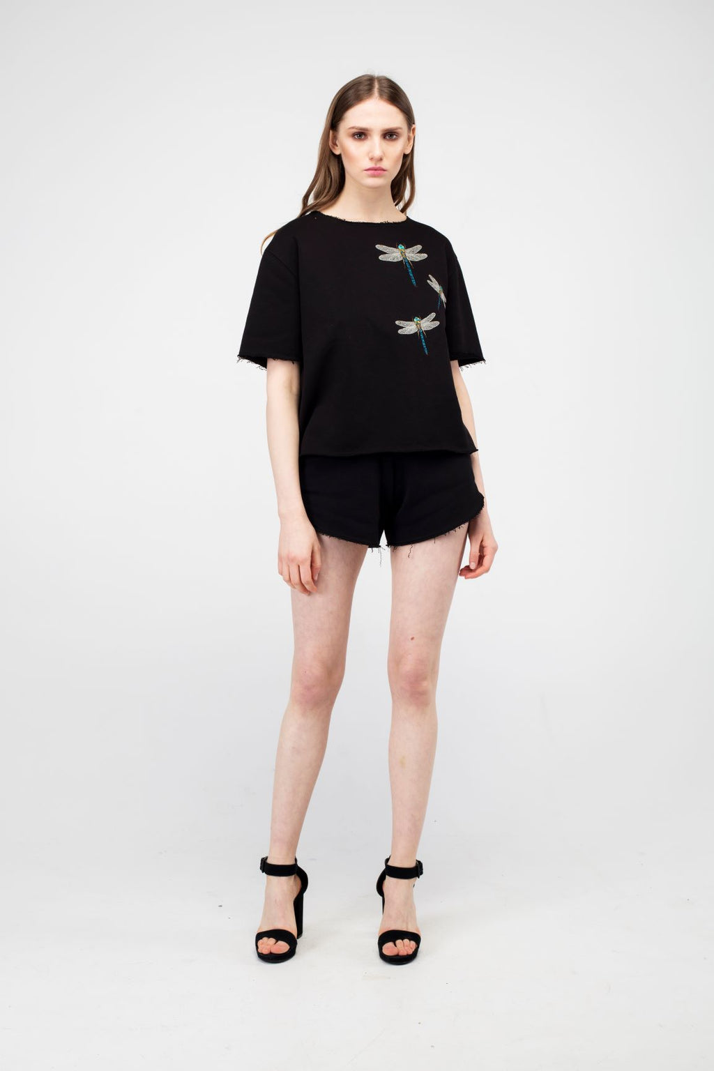 Black Embroidered Dragonfly Girls Set - LAZY FRANCIS - Shop in store at 406 Kings Road, Chelsea, London or shop online at www.lazyfrancis.com