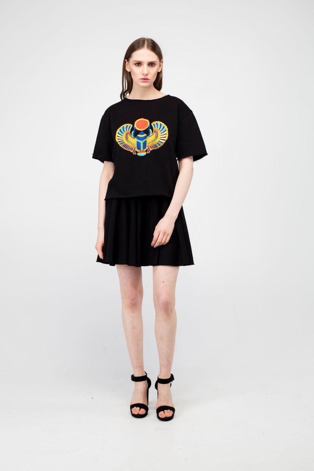 Black Embroidered Winged Beetle Girls Set - LAZY FRANCIS - Shop in store at 406 Kings Road, Chelsea, London or shop online at www.lazyfrancis.com
