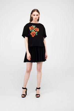 Black Embroidered Poppy Flower Girls Set - LAZY FRANCIS - Shop in store at 406 Kings Road, Chelsea, London or shop online at www.lazyfrancis.com
