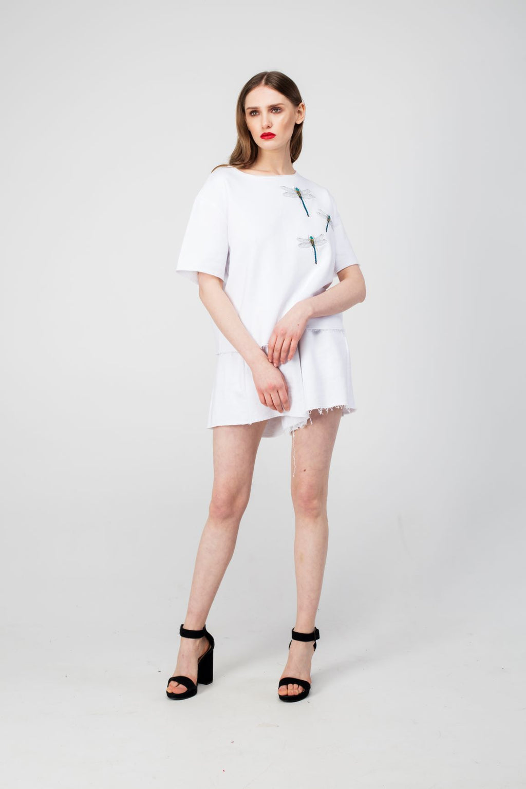White Embroidered Dragonfly Girls Set - LAZY FRANCIS - Shop in store at 406 Kings Road, Chelsea, London or shop online at www.lazyfrancis.com