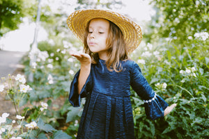 Sparkling Navy Blue Girls Flower Dress