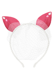 Strawberry Pink Cat Ears Headband with Pearls & Voile - LAZY FRANCIS - Shop in store at 406 Kings Road, Chelsea, London or shop online at www.lazyfrancis.com