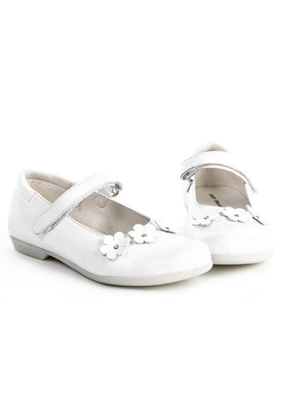 Lazy Francis White Leather Girls Mary-Jane Shoes With Flower Appliqué - LAZY FRANCIS - Shop in store at 406 Kings Road, Chelsea, London or shop online at www.lazyfrancis.com