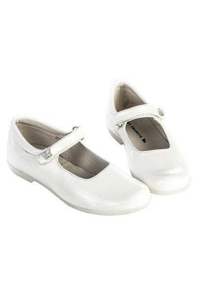 White Lacquer Leather Girls Mary-Jane Shoes - LAZY FRANCIS - Shop in store at 406 Kings Road, Chelsea, London or shop online at www.lazyfrancis.com