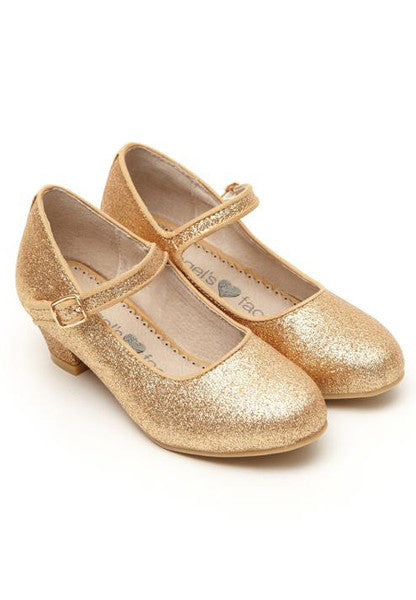 Angel's Face Gold Glitter Girls Heeled Shoes - LAZY FRANCIS - Shop in store at 406 Kings Road, Chelsea, London or shop online at www.lazyfrancis.com