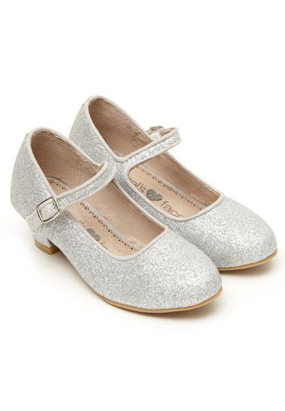 Silver Glitter Heeled Girls Shoes - LAZY FRANCIS - Shop in store at 406 Kings Road, Chelsea, London or shop online at www.lazyfrancis.com