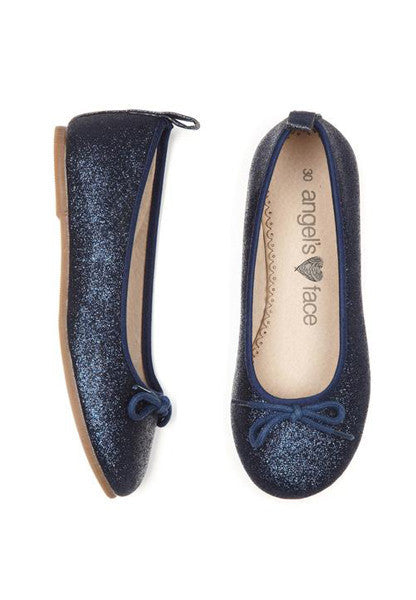 Navy Glitter Girls Ballet Pump Shoes - LAZY FRANCIS - Shop in store at 406 Kings Road, Chelsea, London or shop online at www.lazyfrancis.com