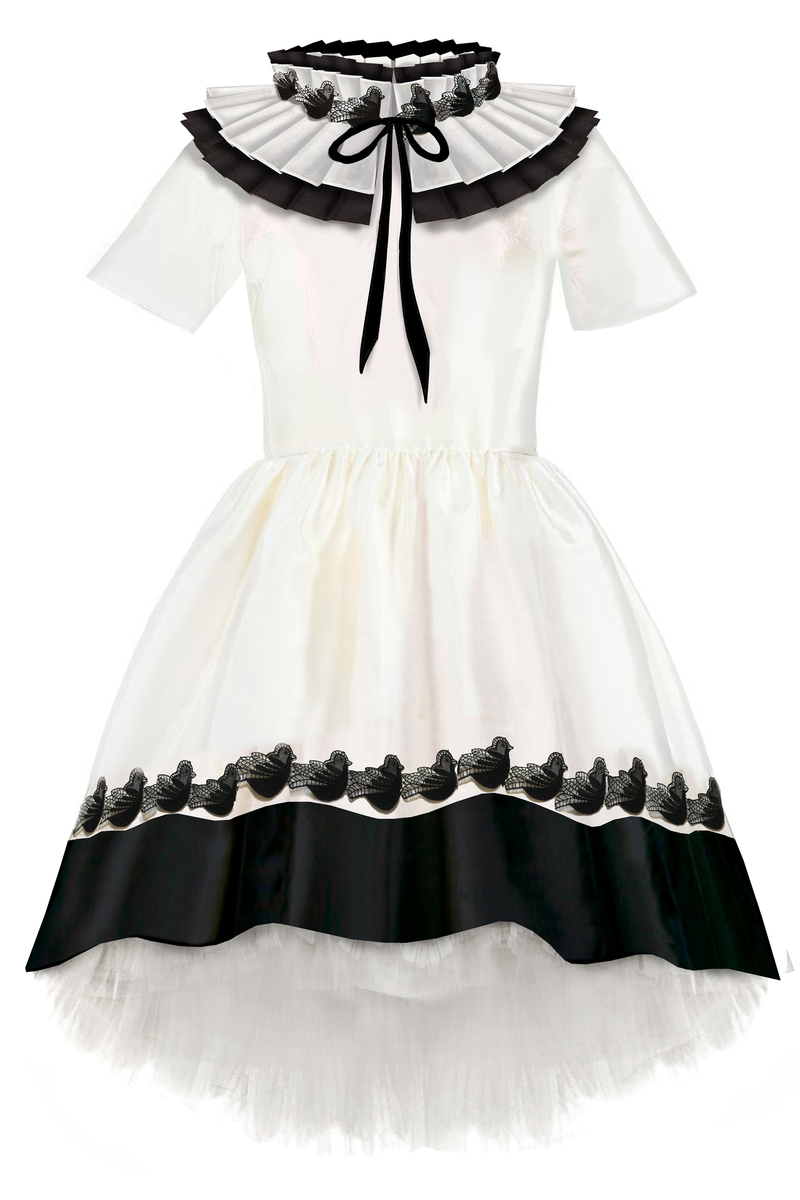 Gorgeous White & Black Taffeta Girls High-Low Dress with Detachable Pleated Collar & Black Lace Details ⋆Limited Edition