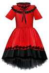 ⋆Limited Edition⋆ Glamorous Red & Black  Taffeta Girls High-Low Dress with Detachable Pleated Collar and Black Bird Lace Details - LAZY FRANCIS - Shop in store at 406 Kings Road, Chelsea, London or shop online at www.lazyfrancis.com