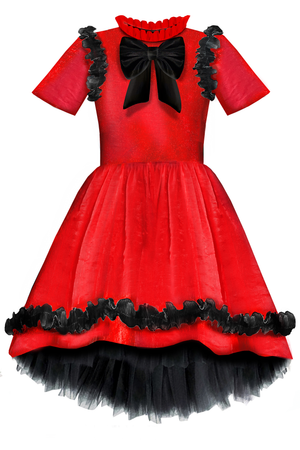 ✭New✭ Charming Red Viscose Girls High-Low Dress with Black Curly Lace Details and Bow - LAZY FRANCIS - Shop in store at 406 Kings Road, Chelsea, London or shop online at www.lazyfrancis.com