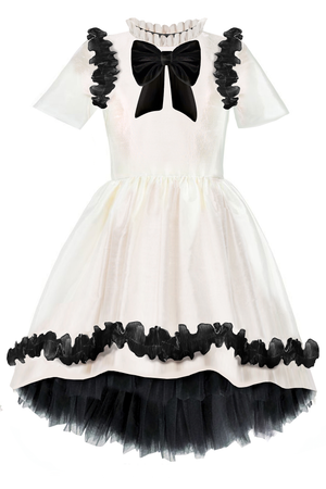 ✭New✭ Charming Ivory Taffeta Girls High-Low Dress with Black Curly Lace Details and Bow - LAZY FRANCIS - Shop in store at 406 Kings Road, Chelsea, London or shop online at www.lazyfrancis.com