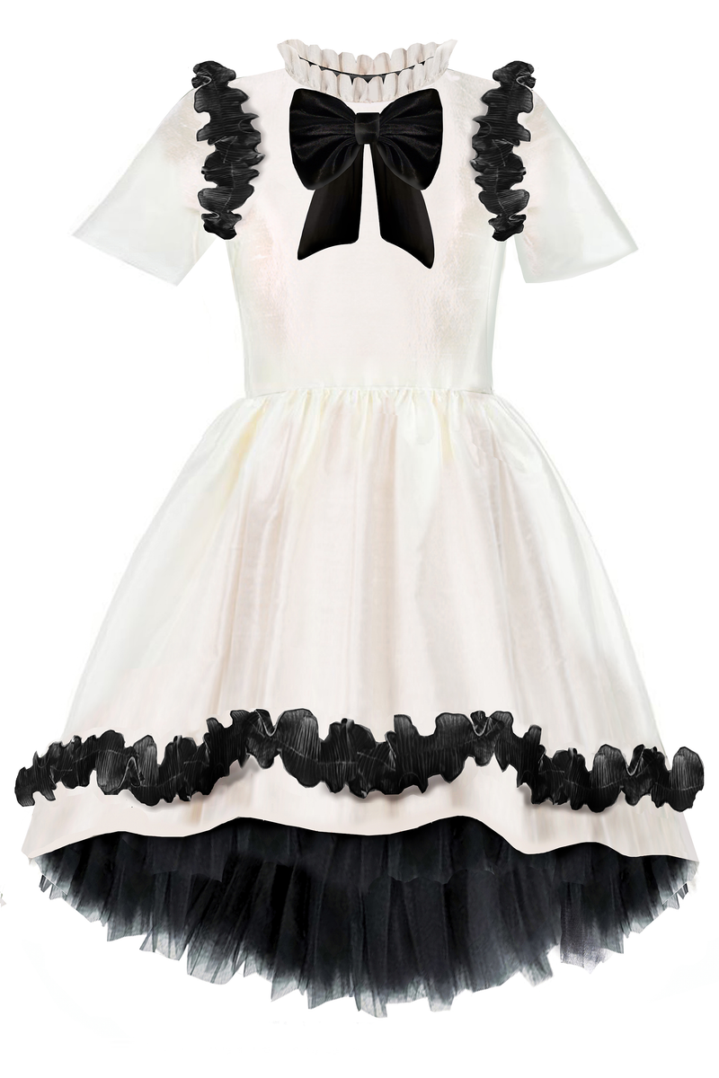 Charming White Taffeta Girls High-Low Dress with Black Curly Lace Details and Bow
