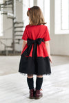 Red & Black Full Girls Dress with Cat Appliqué and Black Tulle Underskirt