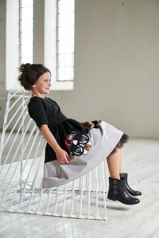 Black & White Jacquard High-Low Girls Tutu Dress with Dog Appliqué