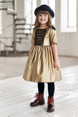 Gold Soft Eco Leather Unique Full Girls Dress with Tulle - LAZY FRANCIS - Shop in store at 406 Kings Road, Chelsea, London or shop online at www.lazyfrancis.com