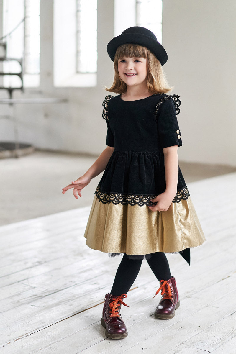Black Corduroy Full Girls Dress with Gold Faux Leather Hem and Lace - LAZY FRANCIS - Shop in store at 406 Kings Road, Chelsea, London or shop online at www.lazyfrancis.com