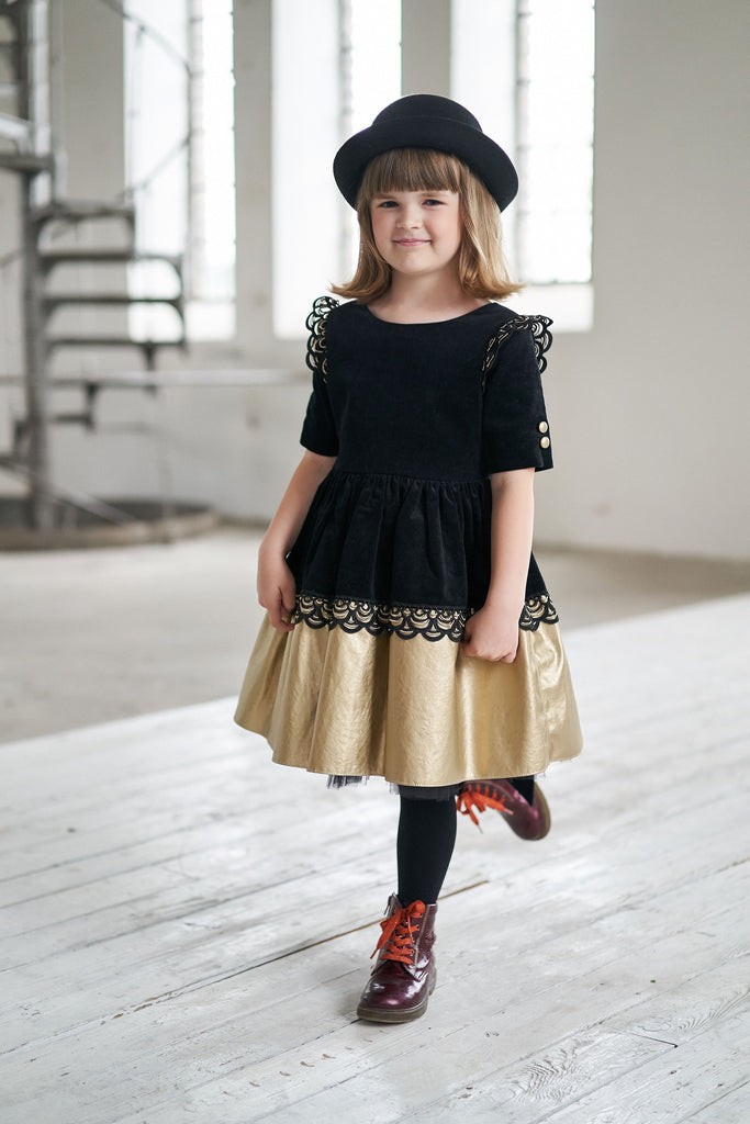 Black Full Girls Corduroy Dress with Gold Faux Leather Hem and Lace - LAZY FRANCIS - Shop in store at 406 Kings Road, Chelsea, London or shop online at www.lazyfrancis.com