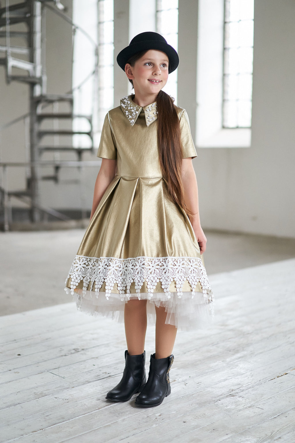 Gold Soft Faux Leather High-Low Girls Dress with White French Lace Trim