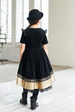 Black  Dog Appliqué Corduroy Girls High-Low Dress with Gold Faux Leather Hem - LAZY FRANCIS - Shop in store at 406 Kings Road, Chelsea, London or shop online at www.lazyfrancis.com
