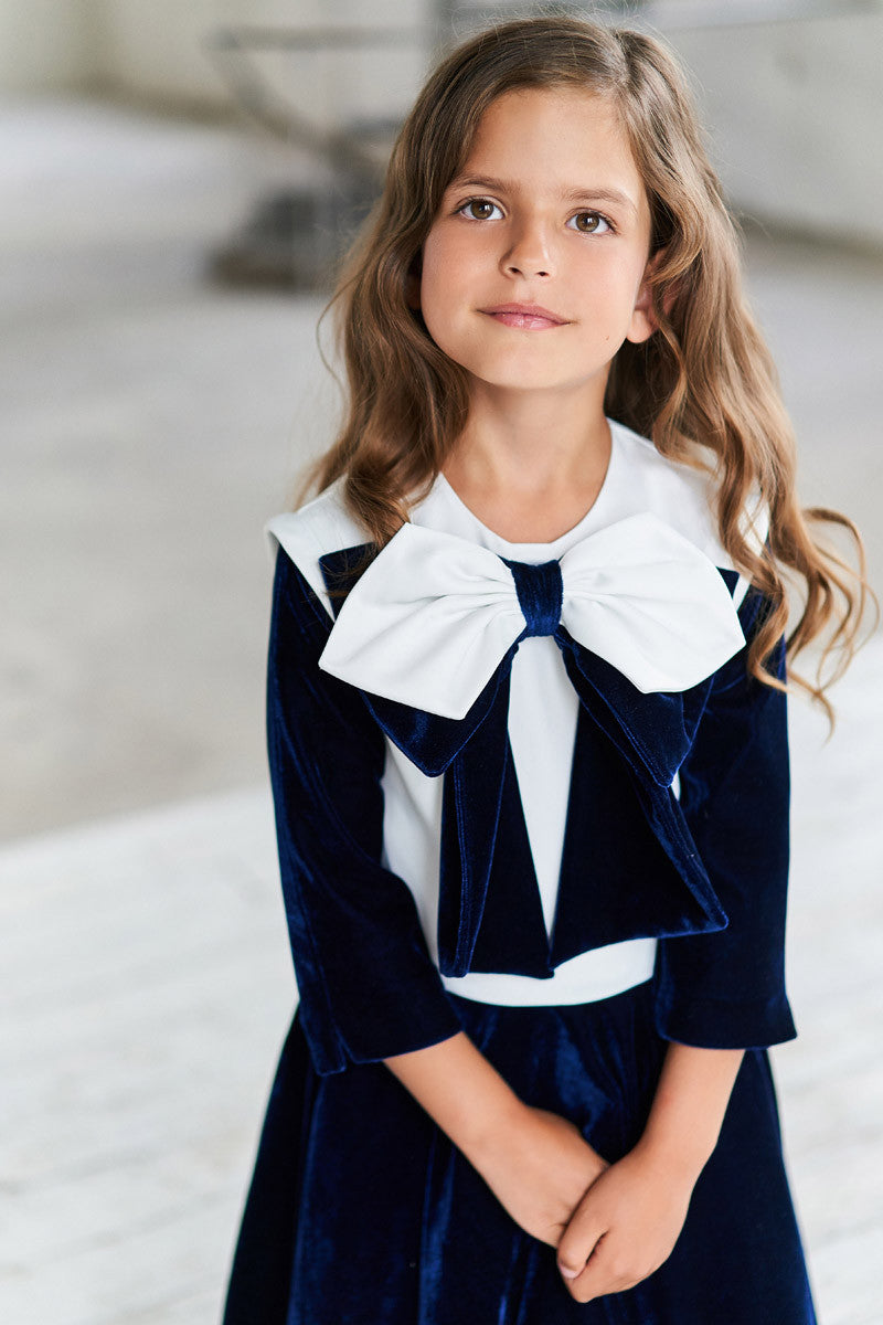 White Satin and Navy Velvet Flared Dress with a Bow - LAZY FRANCIS - Shop in store at 406 Kings Road, Chelsea, London or shop online at www.lazyfrancis.com