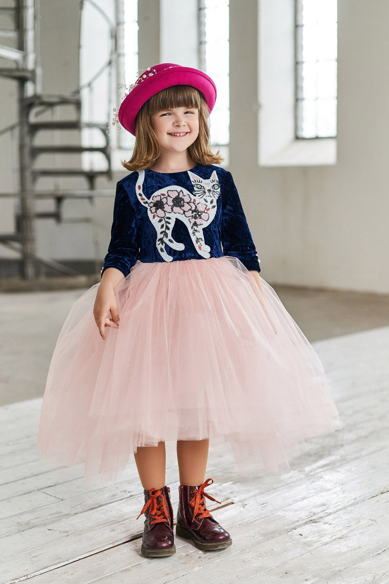 Navy Blue Velvet Top and Pink High-Low Tutu Girls Dress with Sequin Cat Appliqué