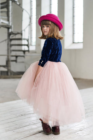 Navy Velvet Top & High-Low Pink Tutu Girls Dress with Rose Embroidery - LAZY FRANCIS - Shop in store at 406 Kings Road, Chelsea, London or shop online at www.lazyfrancis.com