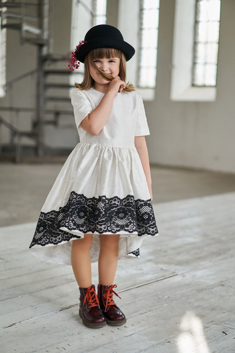 White Raw Silk High-Low Girls Dress with Black Lace