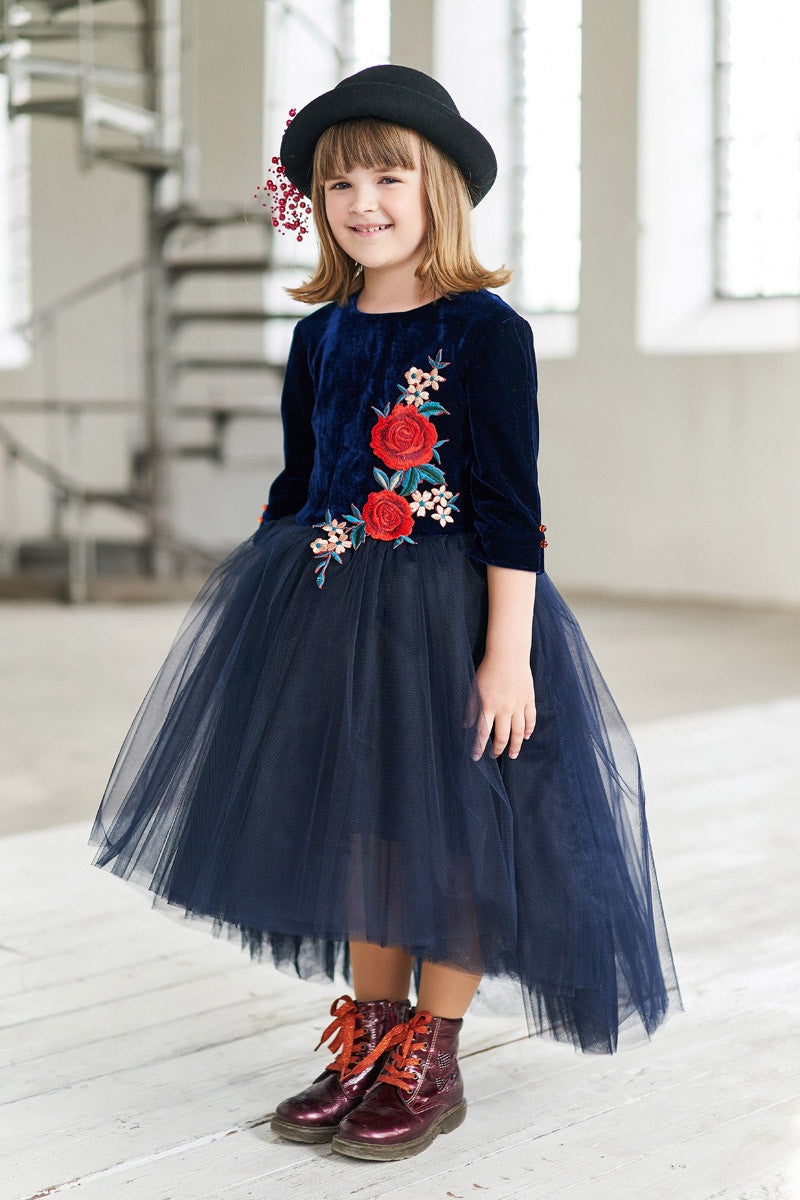 Navy Blue Velvet Top High-Low Girls Tutu Dress with Rose Embroidery