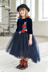 Navy Blue Velvet Top High-Low Girls Tutu Dress with Rose Embroidery - LAZY FRANCIS - Shop in store at 406 Kings Road, Chelsea, London or shop online at www.lazyfrancis.com
